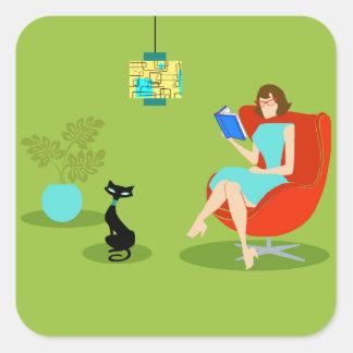 Retro Reading Woman Stickers