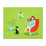 Retro Reading Woman Stretched Canvas Print