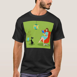 Retro Reading Woman T-Shirt