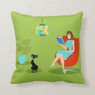Retro Reading Woman Throw Pillow