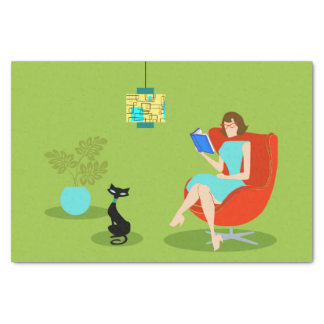 Retro Reading Woman Tissue Paper