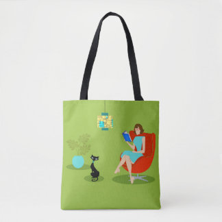 Retro Reading Woman Tote Bag