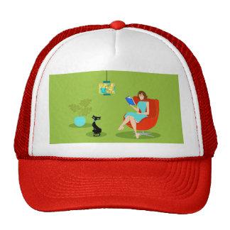 Retro Reading Woman Trucker Hat