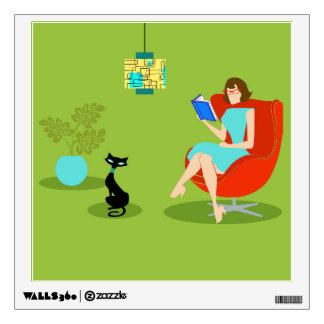 Retro Reading Woman Wall Decal