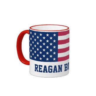 Retro Reagan Bush '84 American Flag Ringer Coffee Mug