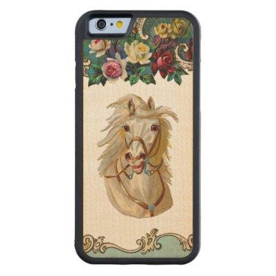 RETRO REBEL Flowing Mane Horse iPhone 6 Bumper Carved® Maple iPhone 6 Bumper Case