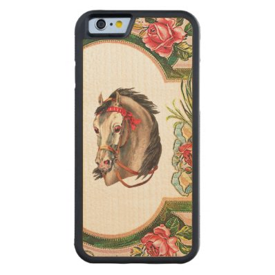 RETRO REBEL White Horse Red Bridle iPhone 6 Bumper Carved® Maple iPhone 6 Bumper