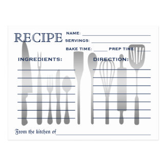 Retro Recipe Card Blue Striped