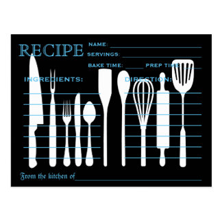 Retro Recipe Card Kitchen Tools Striped