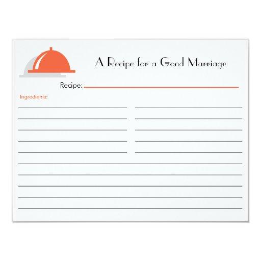 Retro Recipe Card - Orange Custom Announcement