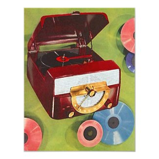 Retro Record Hop Sock Hop Turning Time Invitation