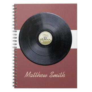 Retro record lp music note book