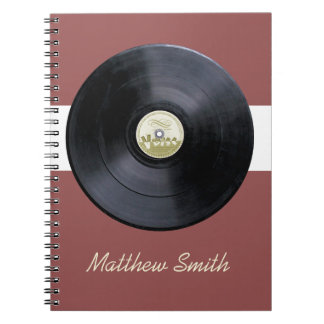 Retro record lp music notebook