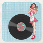 "Retro Record Pin Up Girl Coasters<br><div class=""desc"">This brunette in a red gingham dress serves up a sweet treat,  along with a kiss.</div>"