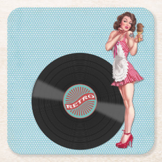 Retro Record Pin Up Girl Coasters