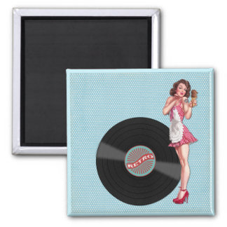 Retro Record Pin Up Girl Magnet