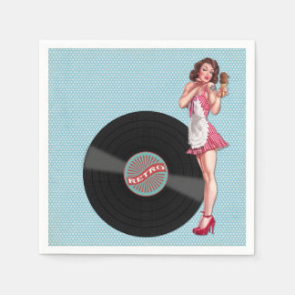 Retro Record Pin Up Girl Standard Cocktail Napkin
