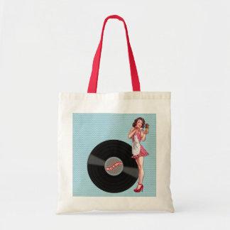 Retro Record Pin-up Girl Tote Bag