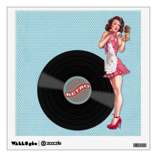 Retro Record Pin Up Girl Wall Sticker