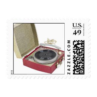 Retro Record Player Photo Postage Stamps