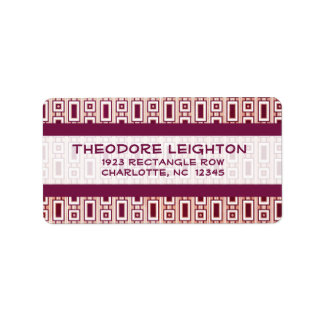 Retro Rectangles Address Label - Purple