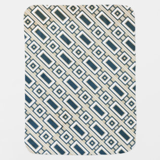 Retro Rectangles Baby Blanket - Blue