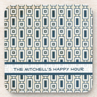 Retro Rectangles Personalized Coasters Set - Blue