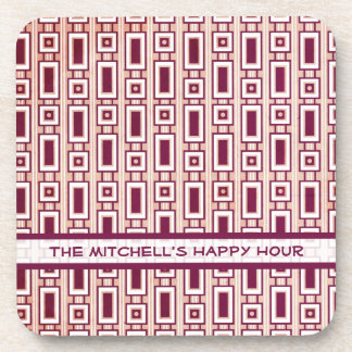 Retro Rectangles Personalized Coasters Set -Purple