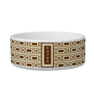 Retro Rectangles Personalized Pet Bowl - Brown