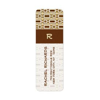 Retro Rectangles Return Address Label - Brown