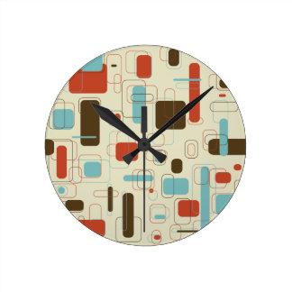 Retro Rectangles Round Clock