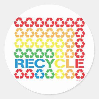 retro recycle classic round sticker