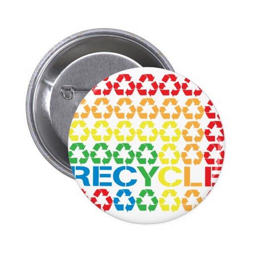 retro recycle pinback button