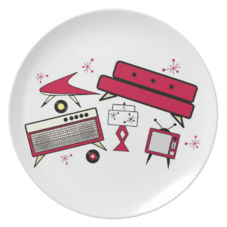 RETRO RED 1950'S LIVING ROOM PLATE