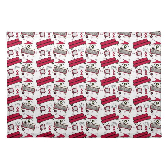 Retro Red 1950's Living Room Set Cloth Placemat