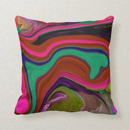 Retro Red #3 mix abstract art Pillow