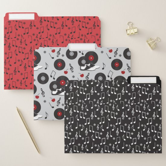 Retro Red and Black 50's Diner Pattern File Folder