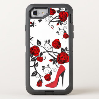 Retro Red and Black Stiletto Heel and Roses OtterBox Defender iPhone 7 Case