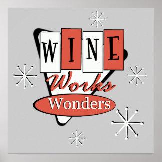 Retro Red And Black Wine Works Wonders Wall Art Print