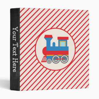 Retro Red and Blue Train Binders