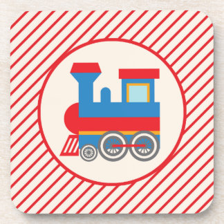 Retro Red and Blue Train Coasters