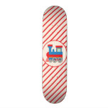 Retro Red and Blue Train Skate Deck