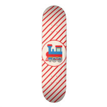Retro Red and Blue Train Skateboard