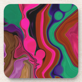 retro red and fuschia psychedelic coaster