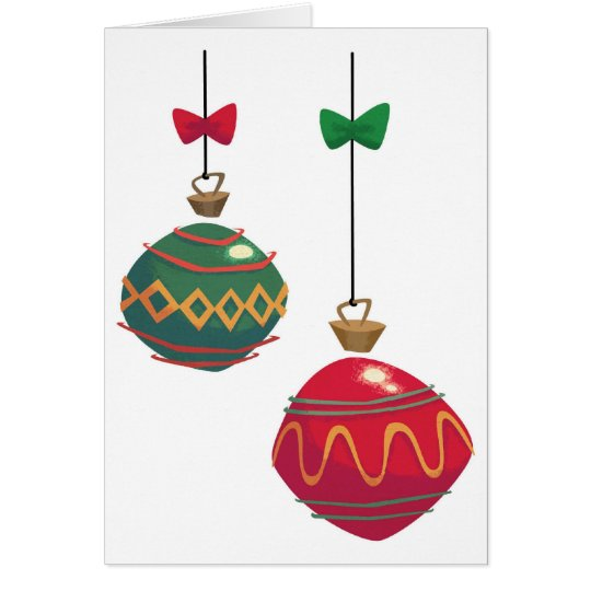Retro Red and Green Christmas Ornaments Card