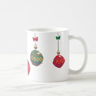 Retro Red and Green Christmas Ornaments Coffee Mug