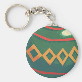 Retro Red and Green Christmas Ornaments Keychain