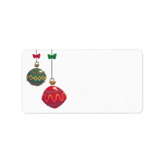 Retro Red and Green Christmas Ornaments Label