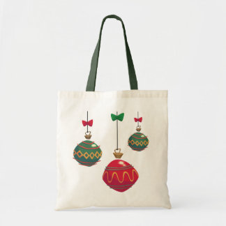 Retro Red and Green Christmas Ornaments Tote Bag
