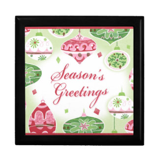 Retro Red and Green Season's Greetings Pattern Jewelry Box